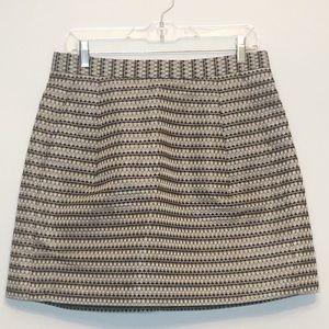BCBG jacquard silver mini skirt pockets size 10